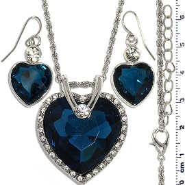 Necklace Earring Set Chain Heart Crystal Gem Silver Dk B FNE1117