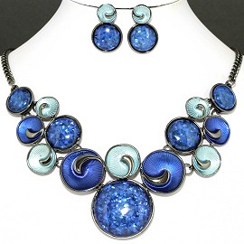 Necklace Earring Set Lt Blue Navy Blue Circle FNE1124