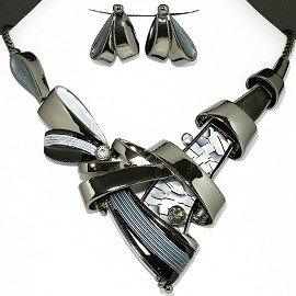 Necklace Earring Set Gray Black Line Rhinestone FNE1128