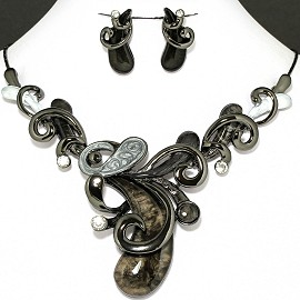 Necklace Earring Set Cashew Nuts Style Dark Gray FNE1134