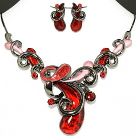 Necklace Earring Set Dark Red Pink Cashew Nuts Style FNE1137