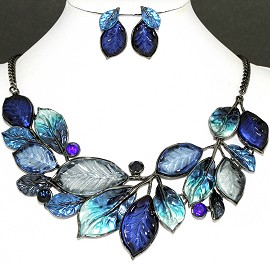 Necklace Earring Set Navy Blue Leaf Blue Rhinestone FNE1144
