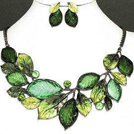 Necklace Earring Set Green Leaf Rhinestone FNE1146