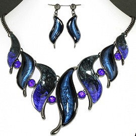 Necklace Earring Set Line Leaf Blue Rhinestone FNE1149