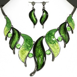 Necklace Earring Set Green Leaf Rhinestone FNE1150