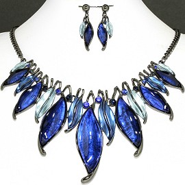 Necklace Earring Set Dark Blue Leaf Rhinestone FNE1151