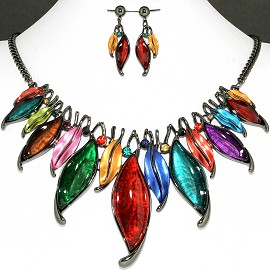 Necklace Earring Set Multi Leaf Rhinestone FNE1152