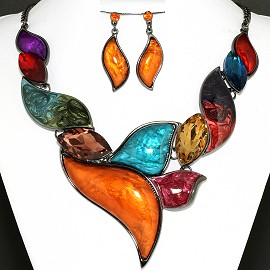 Necklace Earring Set Multi Crystal Leaf FNE1166