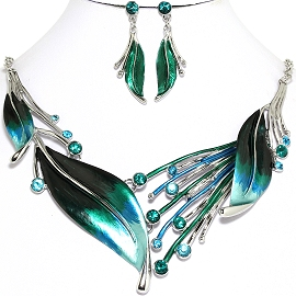 Necklace Earring Blue Green Leaf Set FNE1171