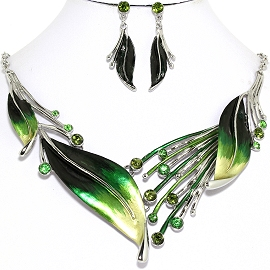 Necklace Earring Green Leaf Set FNE1173