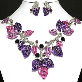 Necklace Earrings Set Leaf Purple Magenta FNE118