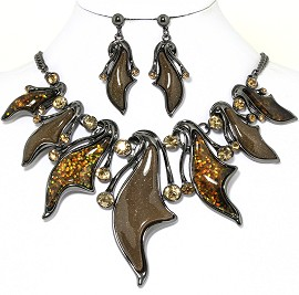 "20""Necklace Earring Set Dark Brown Rhinestone Fne1186"