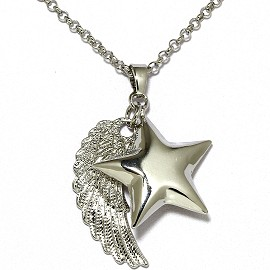"40"" Chain Silver Angel Wing Star Chime Sound Necklace FNE1192"