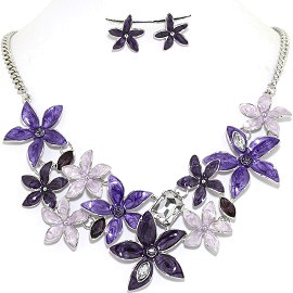 Necklace Earring Set Flower Star Purple FNE1201