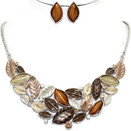 Necklace Earring Set Leaf Leaves Brown Tan FNE1210