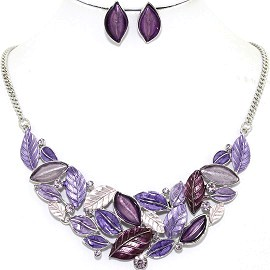 Necklace Earring Set Leaf Leaves Purple Lavender FNE1211
