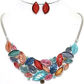 Necklace Earring Set Leaf Leaves Multi Color Red FNE1212