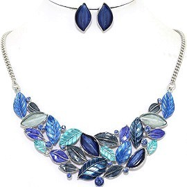 Necklace Earring Set Leaf Leaves Blue FNE1213