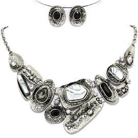 Necklace Earring Set Diff Shapes Silver Gray Black FNE1216