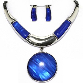 Necklace Earring Set Circle Round Silver Blue FNE1217