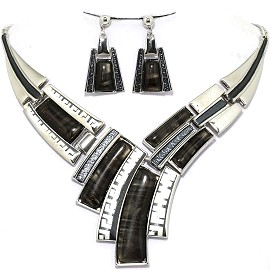Necklace Earring Set Curve Lines Silver Black FNE1218
