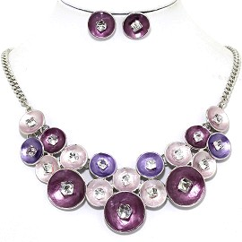 Necklace Earring Set Circle Crystal Cube Purple FNE1225