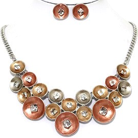 Necklace Earring Set Circle Crystal Cube Bronze Gold FNE1226