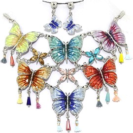 Necklace Earring Set Butterfly Multi Color Blue Yellow FNE1229
