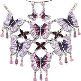 Necklace Earring Set Butterfly Purple FNE1232