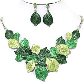 Necklace Earring Set Leaf Leaves Green FNE1233