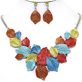 Necklace Earring Set Leaf Leaves Multi Color Copper FNE1236