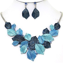 Necklace Earring Set Leaf Leaves Blue Turquoise FNE1237