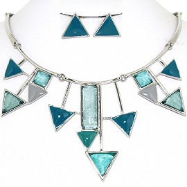 Necklace Earring Set Triangles Silver Teal Turquoise FNE1240
