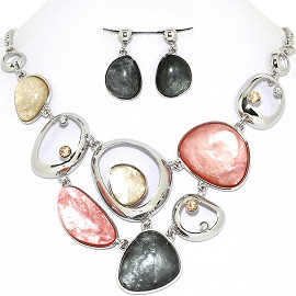 Necklace Earring Set Odd Oval Circles Multi Color Black FNE1245