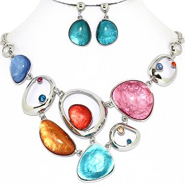 Necklace Earring Set Odd Oval Circles Multi Color Red FNE1246