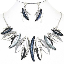 Necklace Earring Set Curve Lines Black Silver Gray FNE1251
