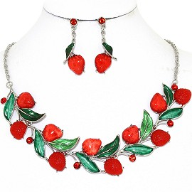 Necklace Earring Set Leaf Strawberry Green Red FNE1253