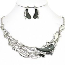 Necklace Earring Set Long Oval Tear Silver Gray FNE1255
