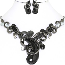 Necklace Earring Set Dark Black Gray Cashew Nuts FNE1257