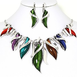Curve Point Leaves Necklace Earring Set Multi Color FNE1260