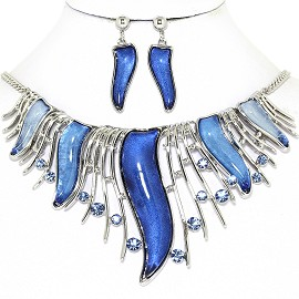 Curve Point Lines Necklace Earring Set Silver Blue FNE1267