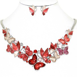 Butterfly Rhinestone Necklace Earring Set Silver Red FNE1268