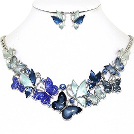 Butterfly Rhinestone Necklace Earring Set Silver Blue FNE1271