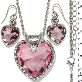 Necklace Earring Set Chain Heart Crystal Gem Silver Pink FNE1281