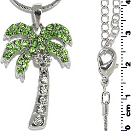 Chain Necklace Rhinestone Palm Tree Green Silver Tone FNE1308