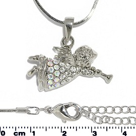 Chain Necklace Rhinestone Baby Angel Pendant Silver Tone FNE1321