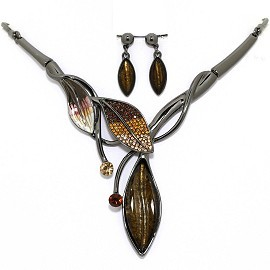 Necklace Earring Set Rhinestone Leaf Gray Brown FNE1331