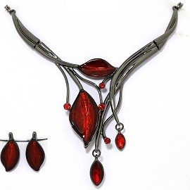 Necklace Earring Set Rhinestone Leaf Gray Red FNE1335