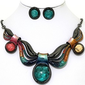 Necklace Earring Set Acrylic Gem Gray Mix Multi Color FNE1340