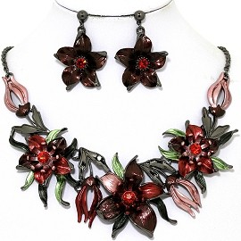 Necklace Earring Set Flowers Gray Red FNE1343